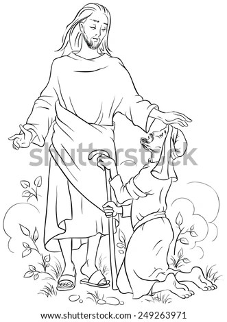 Jesus Healing A Lame Man. Colouring Page. Also Available