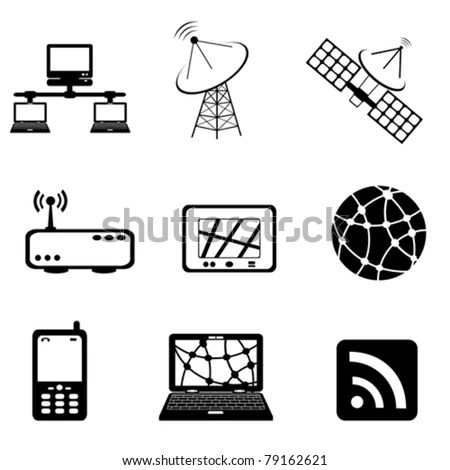 Communication, Technology And Computer Icon Set Stock