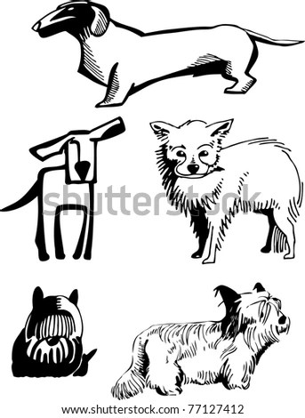 Stylized, Contour Image Of Dogs Of Various Breeds. Stock