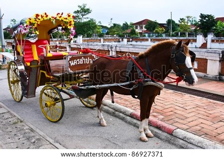 Traditional Horse Carriage, Lampang, Thailand - stock photo