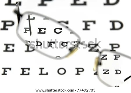 Strong minus glasses with thick lenses… Stock Photo
