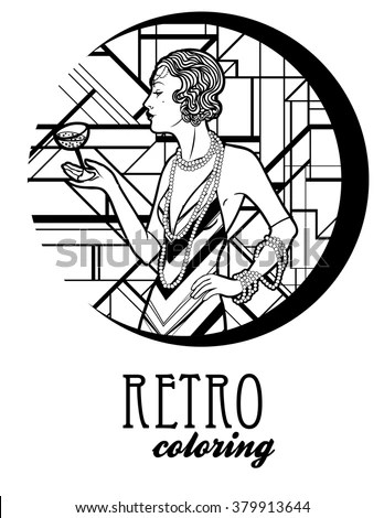 Vector Images, Illustrations and Cliparts: Retro coloring book for kids and adults: retro women
