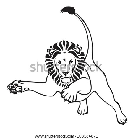 Proud Lion Tribal Tattoo Stock Vector