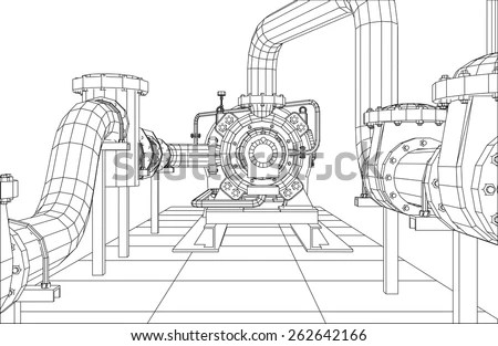 Wire-Frame Industrial Equipment Oil And Gas Pump. Tracing