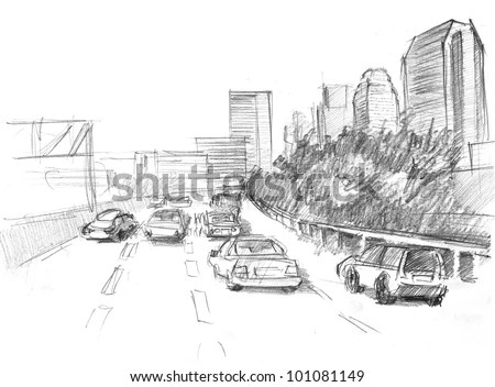 Pencil Drawing Of A Big Modern City With Intensive Traffic