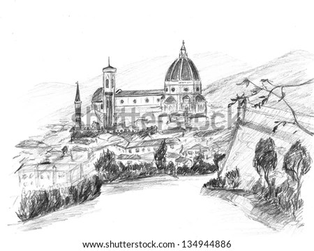 Royalty-free Original sketch drawing of Rome Italy