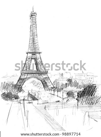 Pencil Drawing Of The Cathedral Of Eiffel Tower In Paris