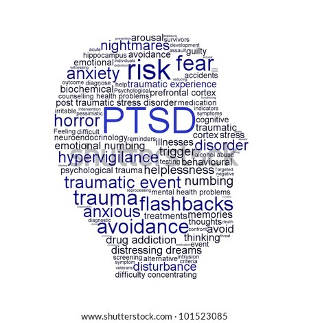 PTSD symbol isolated on white background. Anxiety disorder symbol conceptual design - stock photo