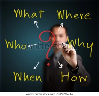 business man analyzing problem and root cause by writing question what, where, when, why, who and how