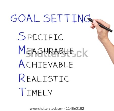 Business Hand Writing Smart Goal Or Objective Setting - Specific - Measurable - Achievable Realistic - Timely Stock Photo 114863182 : Shutterstock