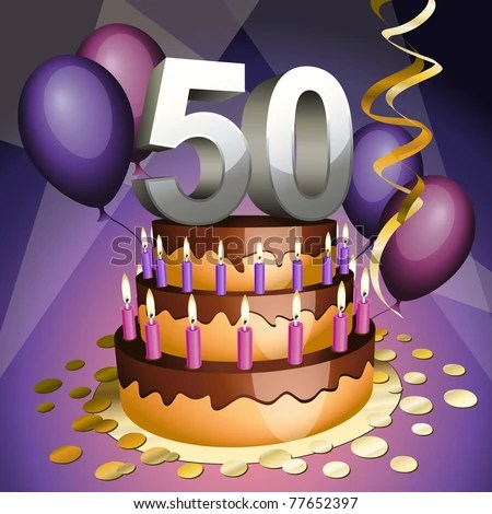stock vector : Fiftieth anniversary cake with numbers, candles and balloons