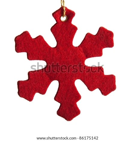 stock photo : Red felt Snowflake for decoration of Christmas tree, isolated on white background