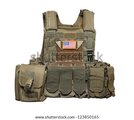 U.S. Army Tactical Bulletproof Vest. Isolated On A White Background. Studio Shot Stock Photo 123850165 : Shutterstock