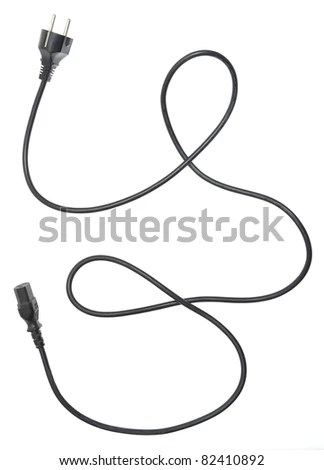 Black Electric Cable Isolated On White Stock Photo