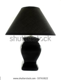 Black Table Lamp With Triangular Lamp Shade. Stock Photo ...