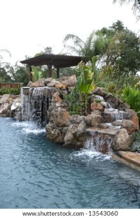 A Waterfall In To A Pool In A Luxury Backyard With ...