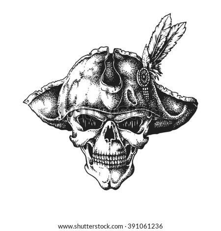Hand Drawn Pirate Captain Skull Wearing Tricorne Hat
