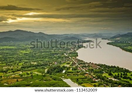 Mekong river at dusk - stock photo