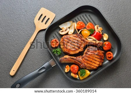 Grilled Pork Chops And Vegetables On The Grill Pan Stock Photo 360189014 : Shutterstock