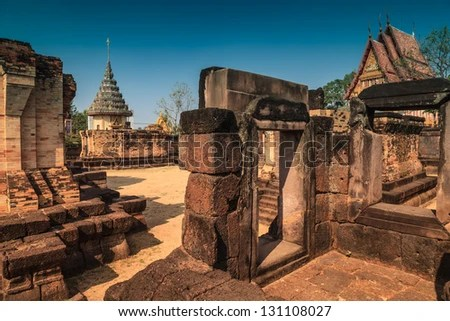 Prasat sa khamphaeng yai In Sisaket province, Thailand. - stock photo