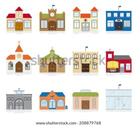 building town institutions clipart illustration vector hall icons variety symbols village shutterstock flat icon gradients office clipground firehouse mobile pic