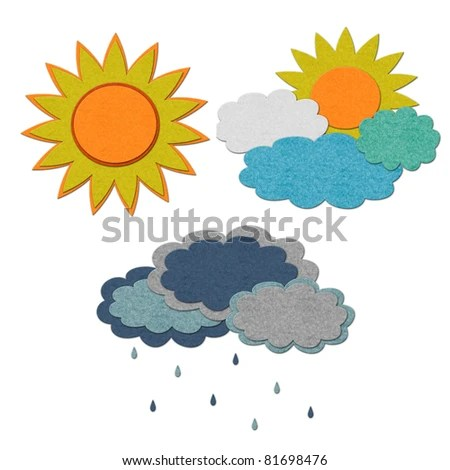 stock photo : Set of three different weather conditions. Handmade style illustration