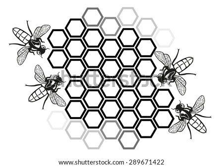 Flat Honey Bee in Honeycomb Illustration Silhouette