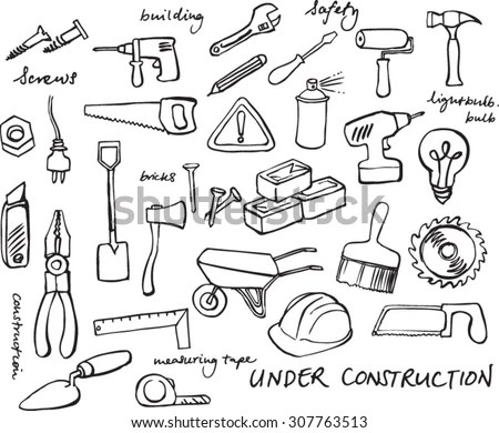 Working Construction Tools Doodles Collection Stock Vector