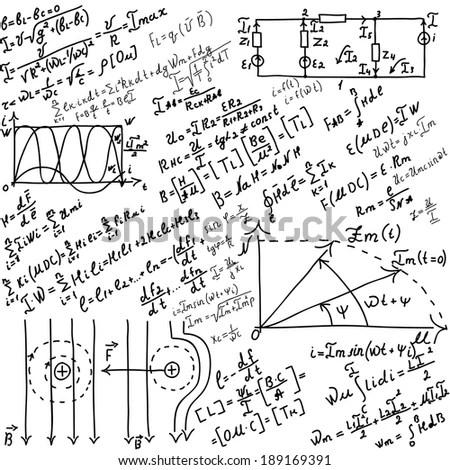 Chalk drawing effect. Math formulas and… Stock Photo