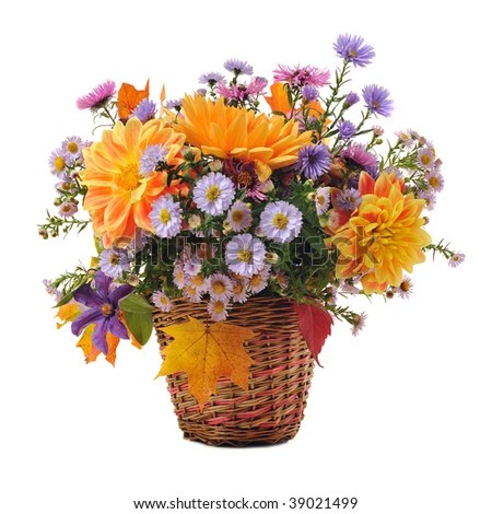 bouquet of autumn flowers in basket