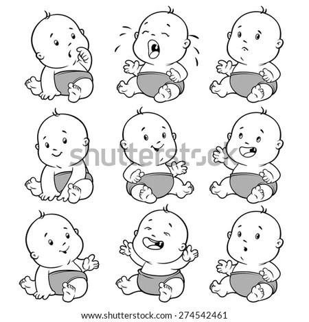 Royalty-free Vector set of children and doll #464924948
