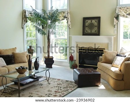 A Well Decorated Family Room In A Modern American Home