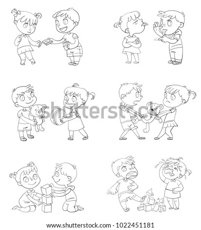Royalty-free Cartoon kid daily routine activities