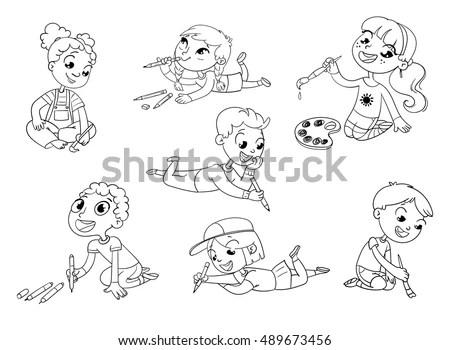 Amusement Park. Set. Children ride on… Stock Photo