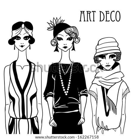 Three Doodle Women In Art Deco Style. Stock Vector
