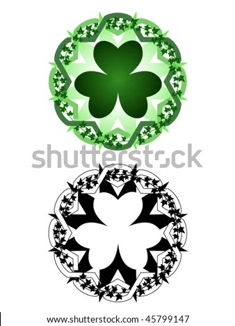 stock vector : Tattoo inspired design of clover surrounded by ivy vines