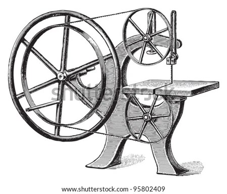 Old Wood Cutting Machine / Vintage Illustration From