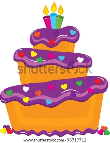 Clip Art Illustration Of A Fancy Layer Cake Covered With