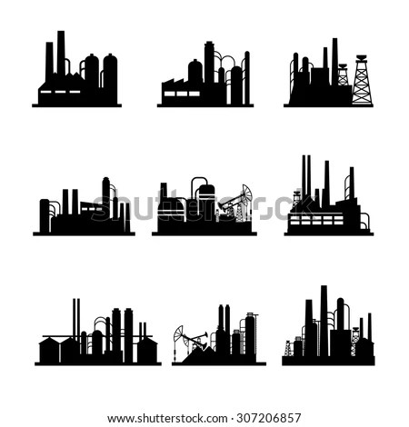 Factories silhouette patterns Stock Photo 273992072