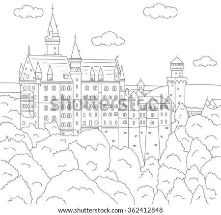 Neuschwanstein Castle. Coloring book for kids. Vector