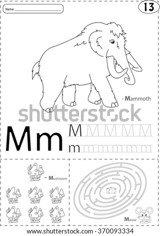 Cartoon Mammoth, Mushroom And Mouse. Alphabet Tracing