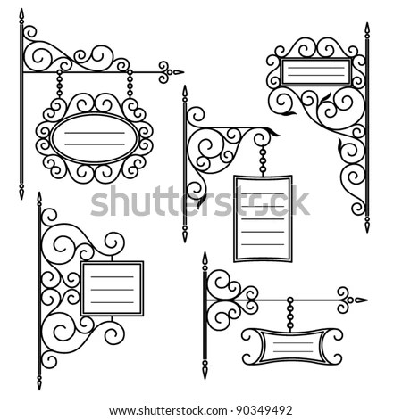 Vintage Signboards Set Stock Vector Illustration 90349492