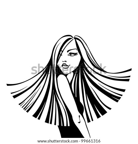 Vector Black And White Fashion Illustration. Beautiful