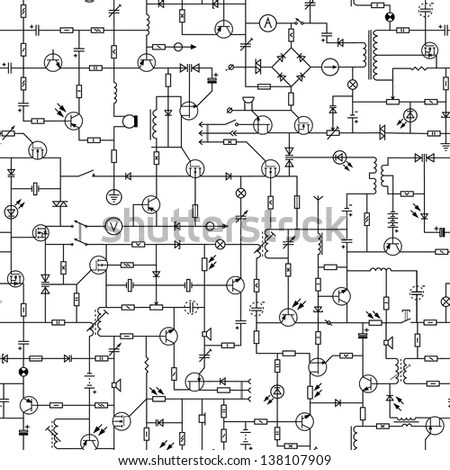Vector Seamless Background Of Electrical Circuit Of Radio