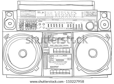 Boom-Box Stereo Old School B&W Stock Photo 110227958