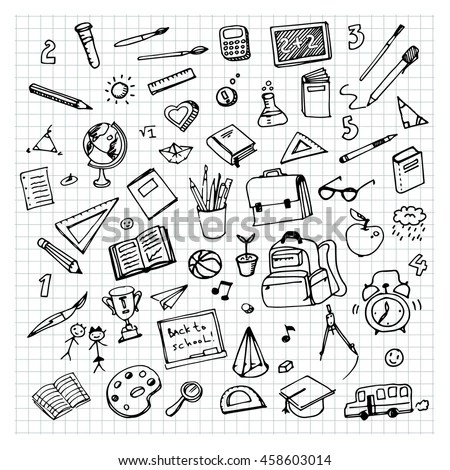 School hand drawn doodle repeated… Stock Photo 262109159