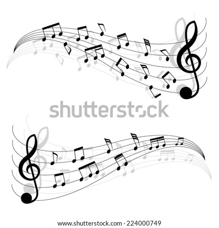 Two Little Black Musical Notes On Moving Chords. A Vector