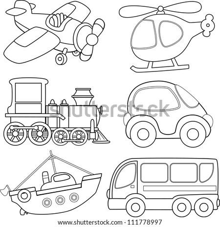 Cartoon Transport. Coloring Book. Stock Vector 111778997