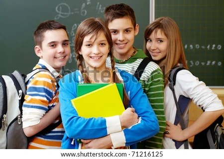 stock photo : Portrait of happy teens looking at camera with smiles