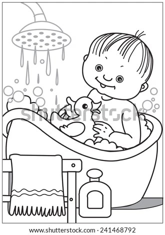 Vector Images, Illustrations and Cliparts: Baby bathing